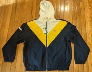 $275 Mens Lacoste Colorblock Hooded Jacket Navy/Gold 52 US Medium/Large