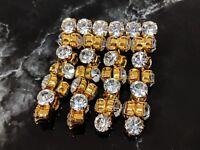 Beautiful Vintage Glamorous Jewellery Gold Tone Diamonds Rhinestones Brooch
