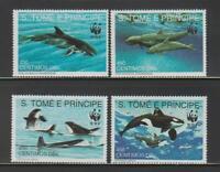 MAR62 - MARINE LIFE FISH S TOME PRINCIPE 1992 WHALES WWF MNH