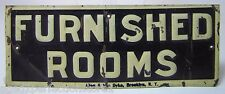 Antique FURNISHED ROOMS Sign embossed tin litho Allen & Van Dyke Bkn NY salesman