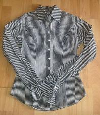 TM Lewin Womens Shirt Long Sleeve Striped Grey & White Designer Size 6 Office