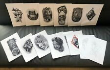Tattoo Flash Set 11.Black And Grey 10 Laminated Sheets With Line work A4 Size