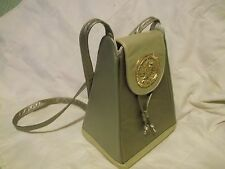 """Vintage Tote purse 11""""x8""""x6"""" goldtone shades inc large metal sun accent on clasp"""