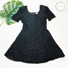 Vtg 90s Beaded Babydoll Dress Small Black Silk Mini Holiday Party Grunge Glam