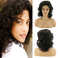 Women Black Brown Curly Wig Fluffy Wavy Short Synthetic Full Hair Wigs Cosplay