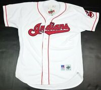 Vtg Cleveland Indians MLB Russell Diamond Collection Chief Wahoo White Jersey 48