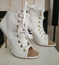 New Manolo Blahnik Ligaro White Lace Up Open Toe Ankle Boot Size 38.5