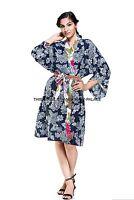 100% Cotton Floral Cotton Dressing Gown Wedding Bride Bridesmaid Kimono Robe