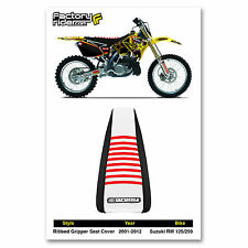 2001-2018 SUZUKI RM 125/250 Black/White/Red RIBBED SEAT COVER BY Enjoy MFG