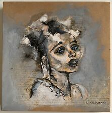 LUCY ABASTADOU ABASTADO ORIGINAL SIGNED MIXED MEDIA PAINTING ON WOOD DATED 2011