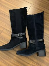 New Clarks Women's 6 Black Suede Side Zip Up Wrap Buckle Knee High Riding Boots