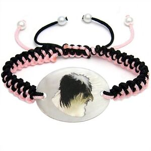 Kyi Leo Dog Mother Of Pearl Natural Shell Adjustable Knot Bracelet Chain BS239
