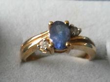GENUINE 9K TANZANITE & DIAMOND GOLD RING 0.523CT BEAUTIFUL RING -