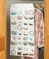 White Hanging Jewelry Organizer 72 Earrings Bracelets Watches Rings Pockets