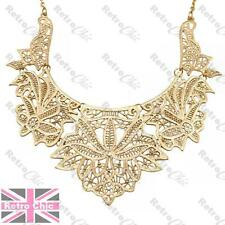 BIG ORNATE FILIGREE fashion gold COLLAR NECKLACE bib choker VINTAGE LACE DETAIL