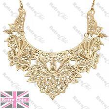 BIG ORNATE FILIGREE fashion gold COLLAR NECKLACE bib choker VINTAGE LACE DETAIL