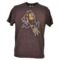 NCAA Arizona Sun Devils Tshirt Tee Short Sleeve Burgundy Crew Neck Mens Distress