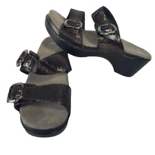 DANSKO Sophie Heeled Sandal Black Shimmer Leather Two Strap Sandals Sz 36 US 6