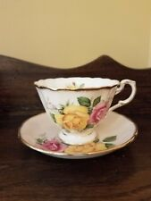 New listing Paragon Pink Light Blush Vivid Big Yellow & Pink Roses Cup & Saucer C. 1960 Exc