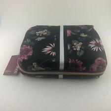 SONIA KASHUK Dark Floral Beauty Organizer Cosmetic Bag. NEW
