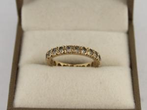 Full Eternity Ring 9ct Yellow Gold Ladies Stunning Size M 375 2.5g Jc78