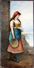 """Ancien Tableau """"Femme au Tambourin"""" Peinture Huile Antique Oil Painting"""