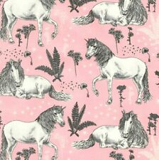 Timeless Treasures Fabric - Sketched Unicorns - Pink - 100% Cotton