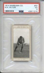 1914 Marsuma Co. H.H. HILTON #50 PSA 3 VG Vintage Golf Tobacco Card