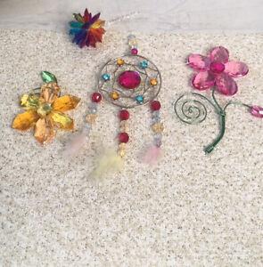 Faux Crystal Dream Catcher Floral Rainbow Sun Disco Ball Flowers Daisy Window