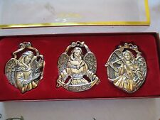 Gorham Silver Plated Metal Angel Ornaments Set of 3 w/ Red Ribbon Hangers