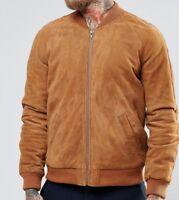 Men's Leather Jacket Real Soft Suede Brown Bomber Flight Aviator Jacket Coat New
