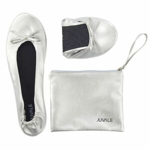 Women's Foldable Ballet Flats Roll up Shoes with Pouch, Silver, US 8.5 - 9.5, L
