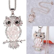Women Owl Rhinestone Crystal Jewelry Pendant Animal Long Sweater Chain Necklace