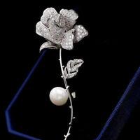 Broche Une Branche Fleur Rose Perle Nacré CZ Incrusté Plaqué Or Mariage G8 8