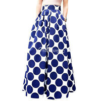 Ladies Womens High Waisted Skater Full Circle Pleated A-Line Maxi Dress Skirt