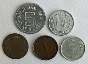 Lot of 5 1940's-1950's Vintage Play Money Toys Aluminum & Copper Mazuma Lucky