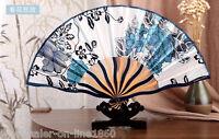 Blue & White Chinese Japanese Hand Held Folding Silk Bamboo Asian Pocket Fan