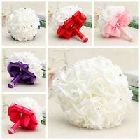 Nice Handmade Rose Bridal Wedding Flowers Silk Crystal Pearl Brooch Bouquet