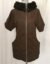 ELLE Womens Light Jacket Faux Fur Lined Hood Short Sleeves Zip Front Size M