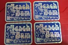 Beach Bum - Hawaii Surf Surfing Island Party 80's 3x4in. Sticker - Lot of 4