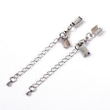 10PCS laiton fermoir & clip fin cordon sertir & extender chain platinum nickel free