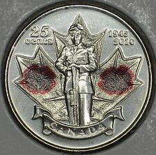 CANADA 25 cents 2010 Poppy coin in MS