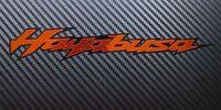 Hayabusa Moto Pegatinas a Medida Gráficos Naranja Cromado en Negro X 2 Piezas