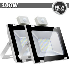 2x 100W LED Flood Light PIR Motion Sensor Cool White Outdoor Spot Garden Lamp