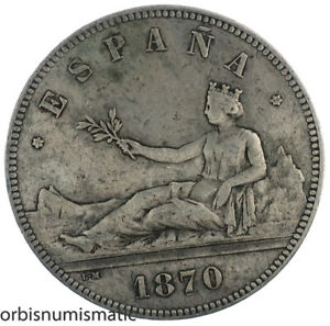 SPAIN 5 PESETAS 1870 PROVISIONAL GOVERNMENT SPANISH 900% BIG SILVER COIN Z676