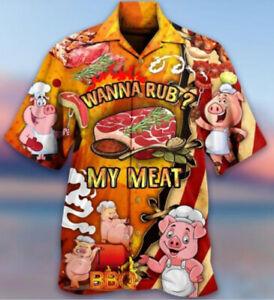 Wanna Rub My Meat Short Sleeve Button Hawaiian Shirt All Size