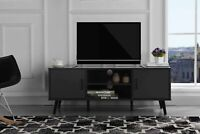 Modern Entertainment Center in Dark Grey Beech Wood TV Console TV Stand Wood