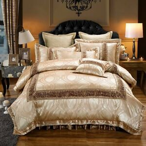 6pc. Luxury Palace Jacquard Dark Beige Queen King Duvet Cover Bedding Set