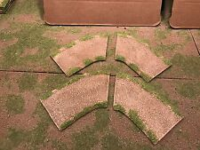 """28mm, 3"""" 1/8 turn road sections,  4pc,  PAINTED"""