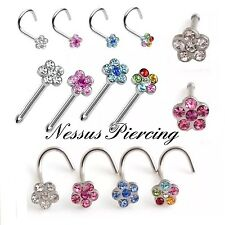 Flower nose stud piercing surgical steel piercing hoop ring straight curved bar